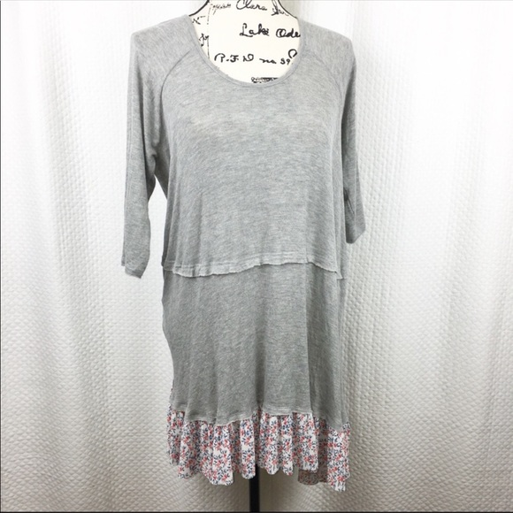 NWT Boutique Designer T-PARTY Lavender Gray White Long Tunic//Dress Cold Shoulder